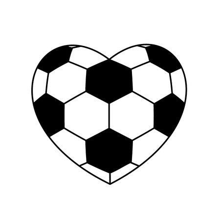 soccer field: soccer ball heart isolated on white background. vector illustration