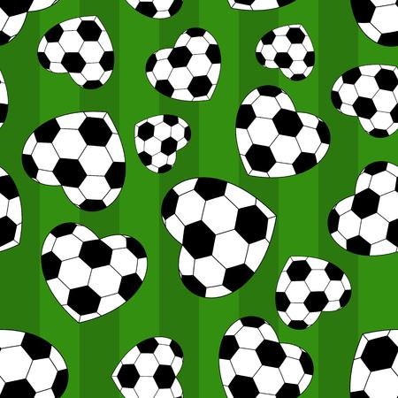 soccer field: seamless soccer heart on green background. vector illustration