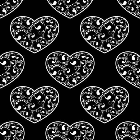 black textured background: black hearts textured on black background. vector illustration