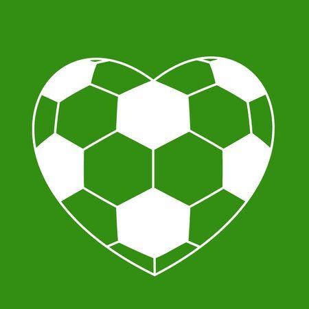 soccer field: soccer ball heart on green background. vector illustration