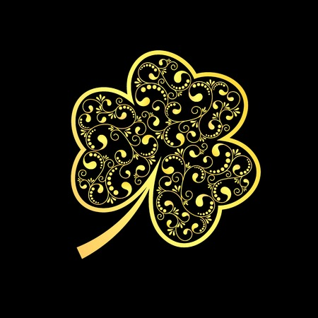 patrick: St patrick golden icon on black background. vector illustration