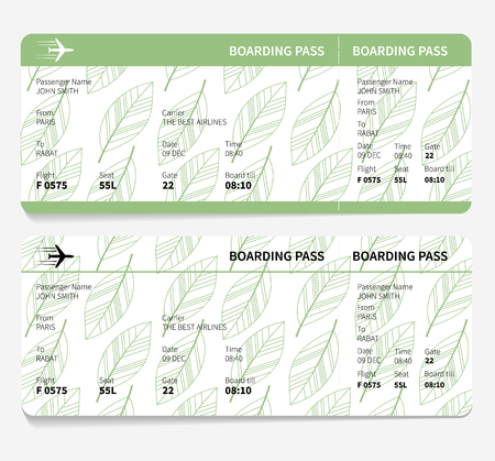 going green: ticket boarding pass isolated on white background. vector illustration
