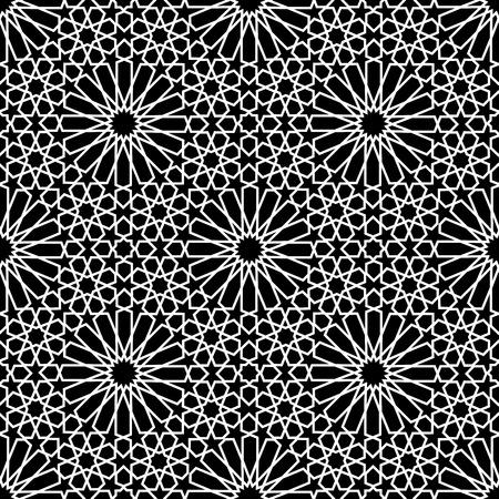 흰색과 검은 색 모자이크 모로코 zellige 원활 하 게합니다. 벡터 일러스트 레이 션