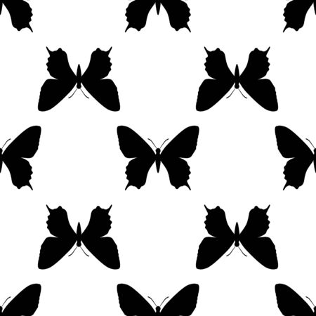 black butterfly: black butterfly seamless on white background. vector illustration