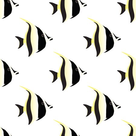 moorish idol: fish seamless on white background. vector illustration Illustration