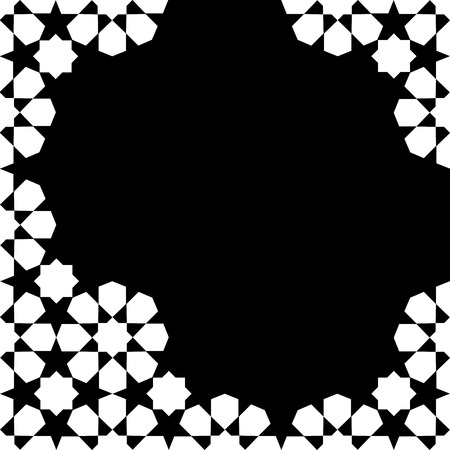 white and black moroccan zellige mosaic template. vector illustration