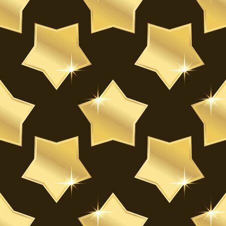 golden star: golden star seamless on brown background. vector illustration