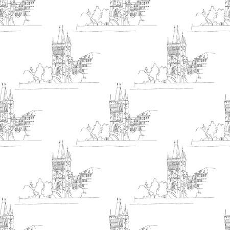 charles bridge seamless isolated on white background. vector illustration Ilustração
