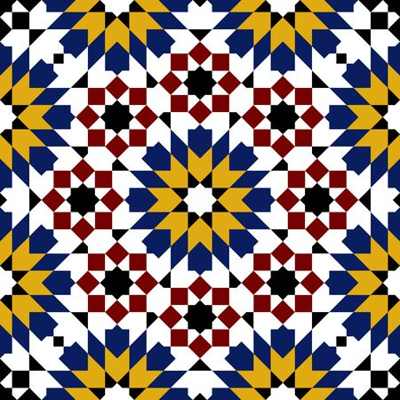 seamless tile: moroccan mosaic seamless on white background. vector illustration