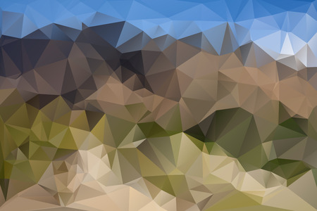 mountain view: Abstract polygonal landscape with Mountain view. Forest. vector illustration