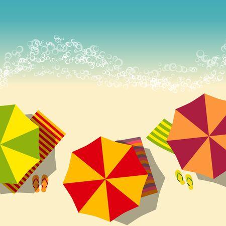 flops: beach summer illustration with umbrella and flip flops. vector illustration