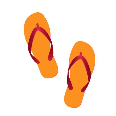 flipflops: orange flip flops isolated on white background. vector illustration