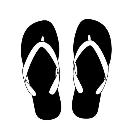 flops: black flip flops isolated on white background. vector illustration