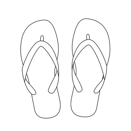 white flip flops isolated on white background. vector illustration