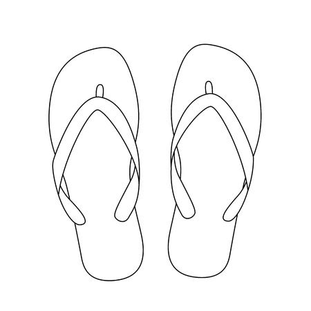 white flip flops isolated on white background. vector illustration
