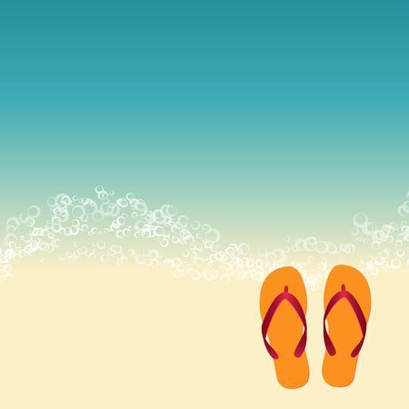 flipflops: summer beach illustration with flip flops. vector illustration