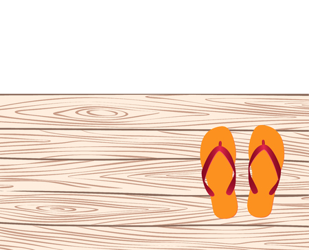 pier: template with flip-flops on the pier. vector illustration
