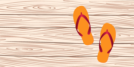 berth: template with flip-flops on the pier. vector illustration