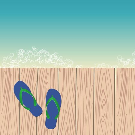 pier: template with flip-flops on the pier next to sea. vector illustration Illustration