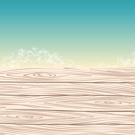 jetty: template with sea and wood pier. vector illustration