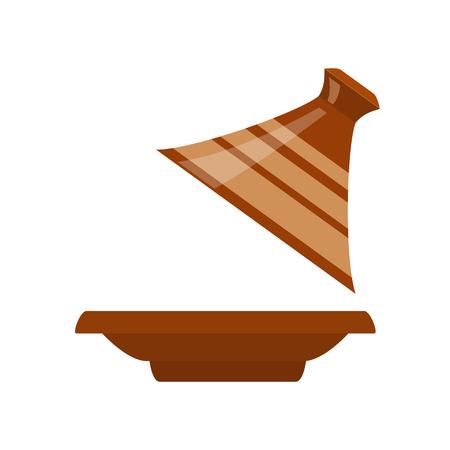 モロッコのタジンは、白い背景で隔離。ベクトル図