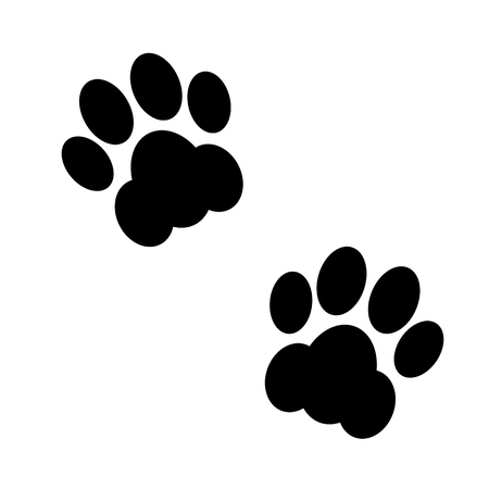 footsteps: Couple black and white animal footsteps. Vector illustration.