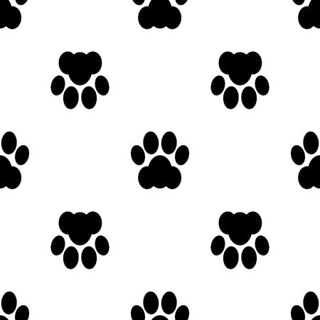 footstep: Black seamless of footstep cat paws. Vector illustration. Illustration