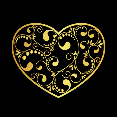 gold heart: luxury gold heart on black background. vector illustration