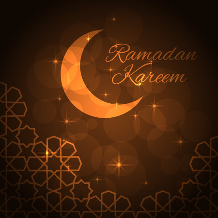 greeting card background: Ramadan greeting card on brown background. Vector illustration.