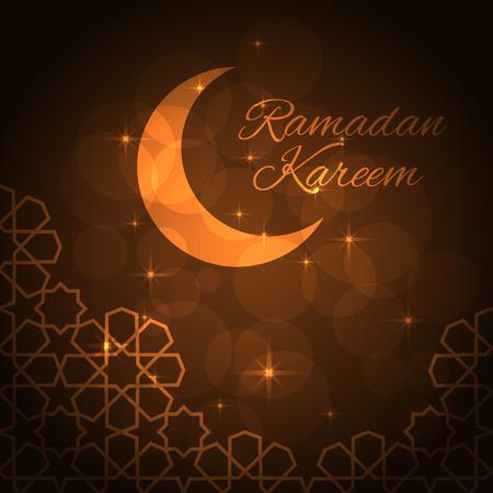 religious celebration: Ramadan greeting card on brown background. Vector illustration.