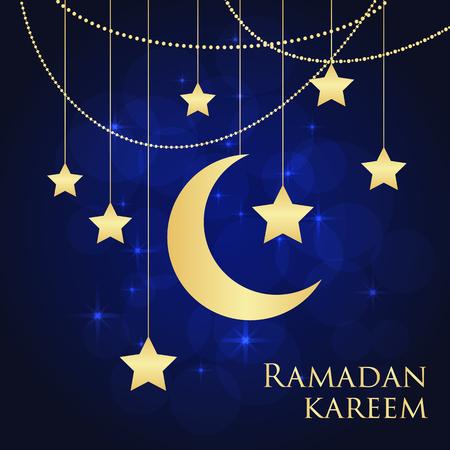 religious celebration: Ramadan greeting card on blue background. Vector illustration. Ramadan Kareem means Ramadan is generous.