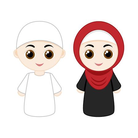 Cartoon moslim paar man en vrouw op een witte achtergrond.