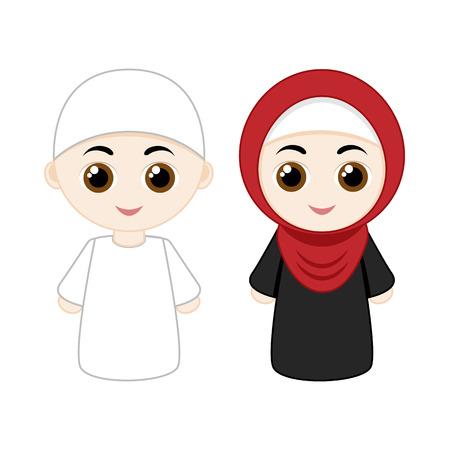 Cartoon muslim couple man and woman isolated on white background.