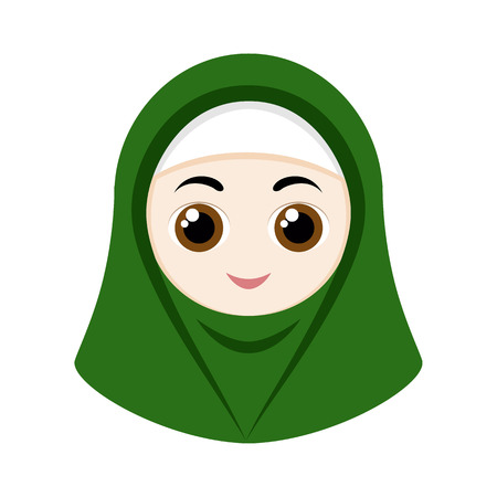 religious clothing: Cartoon girl with green hijab isolated on white background. Illustration
