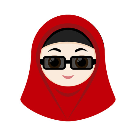 eastern religion: Cartoon girl with red hijab isolated on white background.