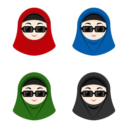 religious clothing: Set of cartoon avatars girls with hijabs isolated on white background. Vector illustration.
