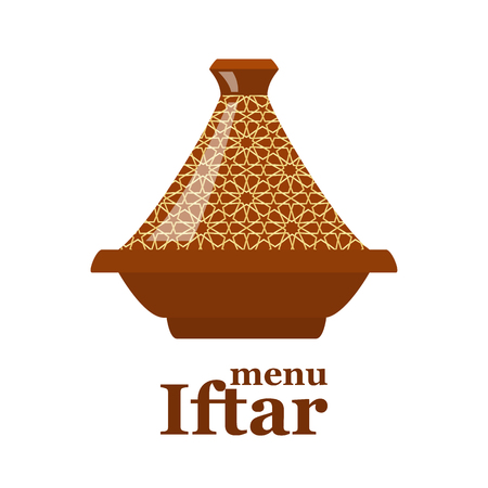 iftar: Moroccan tajine isolated on white background for cover of iftar menu. vector illustration Illustration
