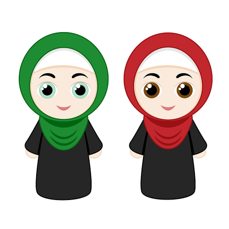 eastern religion: Set of cartoon girls with hijabs isolated on white background. Vector illustration.