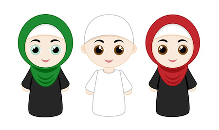 religious clothing: Set of cartoon people with hijabs isolated on white background. Vector illustration. Illustration
