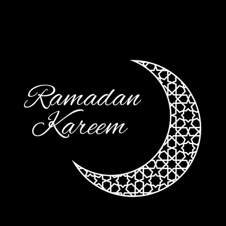 generoso: Ramadan greeting card on black background. Vector illustration. Ramadan Kareem means Ramadan is generous. Vectores