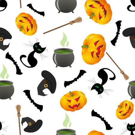 isolated illustartion: Seamless bright pattern with cartoon elements of witchcraft and witch cauldron of potion, bubbles with venom , black cat, bat, broom, hat. vector illustration