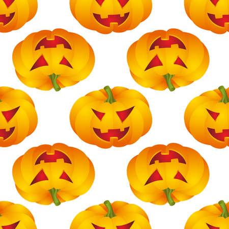 Seamless pattern with Halloween pumpkins. Vector illustration.