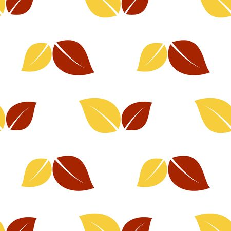 closer: Seamless pattern with red and yellow autumn leaves. Vector illustration.
