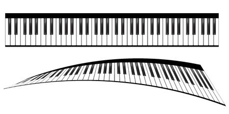 instrumental: Piano keyboards vector illustrations. Various angles and views Illustration