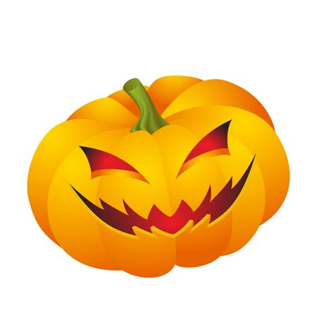 making face: Cute Halloween pumpkin decoration making different funny face expression Illustration