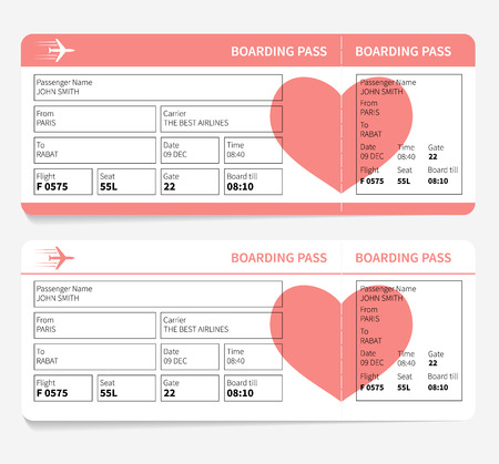 Blank plane tickets for romantic trip isolated on white background. Vector illustration