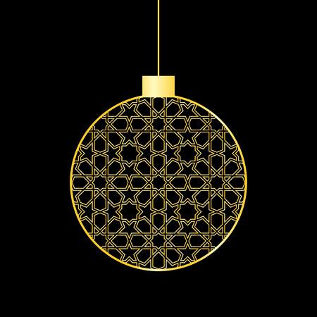 Gold mosaic christmas ball on black background.
