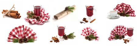 star anise christmas: Bright Christmas Collage With Mulled Wine, Cinnamon and Star anise Stock Photo