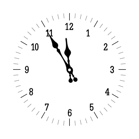 midnight time: Old clock showing the Christmas time isolated on white background. vector illutration
