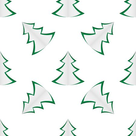 repetition row: Seamless background of green christmas trees on white background. Vector illustration. Illustration